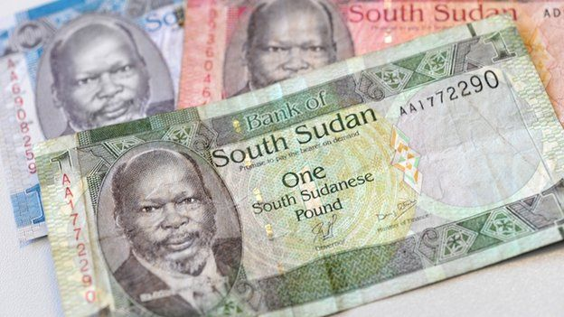 South Sudanese one, five and ten pound notes