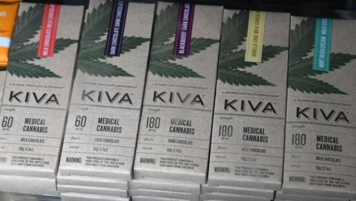 """Chocolate bars with cannabis called """"edibles"""" are for sale at the Higher Path medical marijuana dispensary in the San Fernando Valley area of Los Angeles, California, 27 December 2017"""