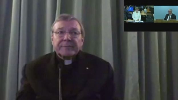 Screen grab shows Australian investigators (top right) questioning Rome-based Cardinal George Pell via video link