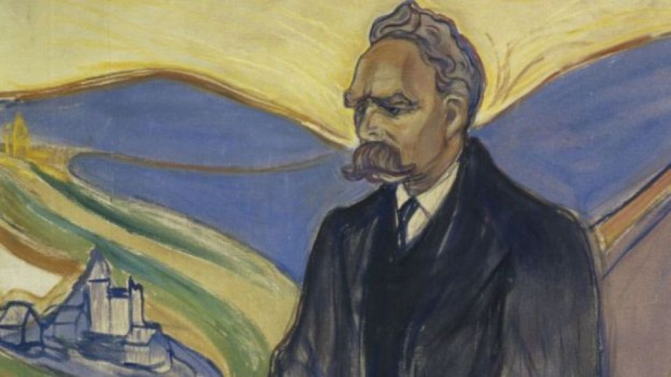 Detalle de retrato de Friedrich Nietzsche hecho por Edvard Munch.