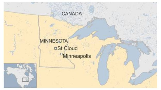 Map showing St Cloud, Minnesota