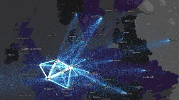 В распределении трафика Tor важное место занимает Москва (крайняя правая точка)