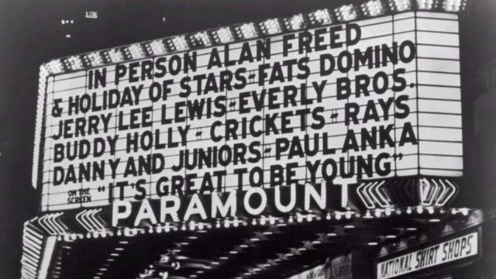 View of the marquee at the Paramount Theatre, New York City.