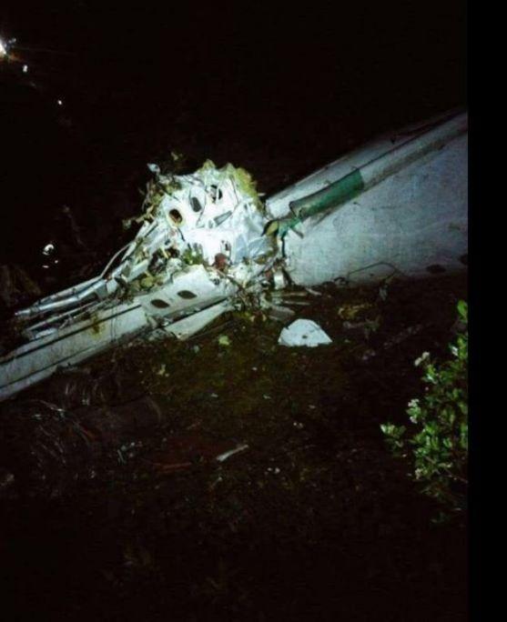 Destroços de avião com equipe da Chapecoense