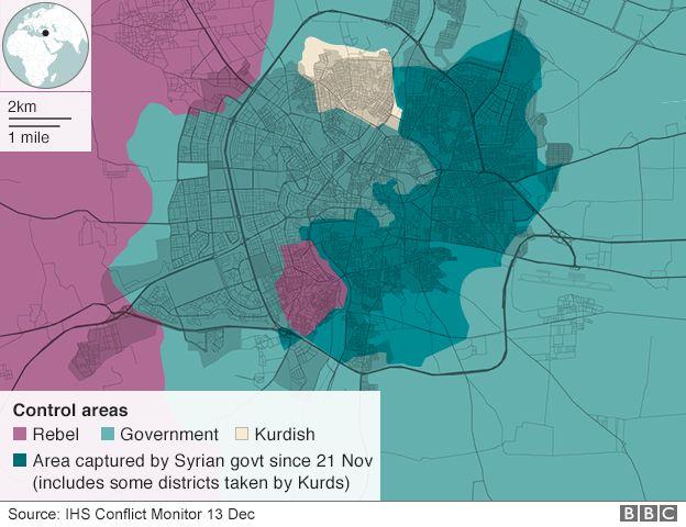 Eine Karte belagerten Gebieten von Aleppo zeigt