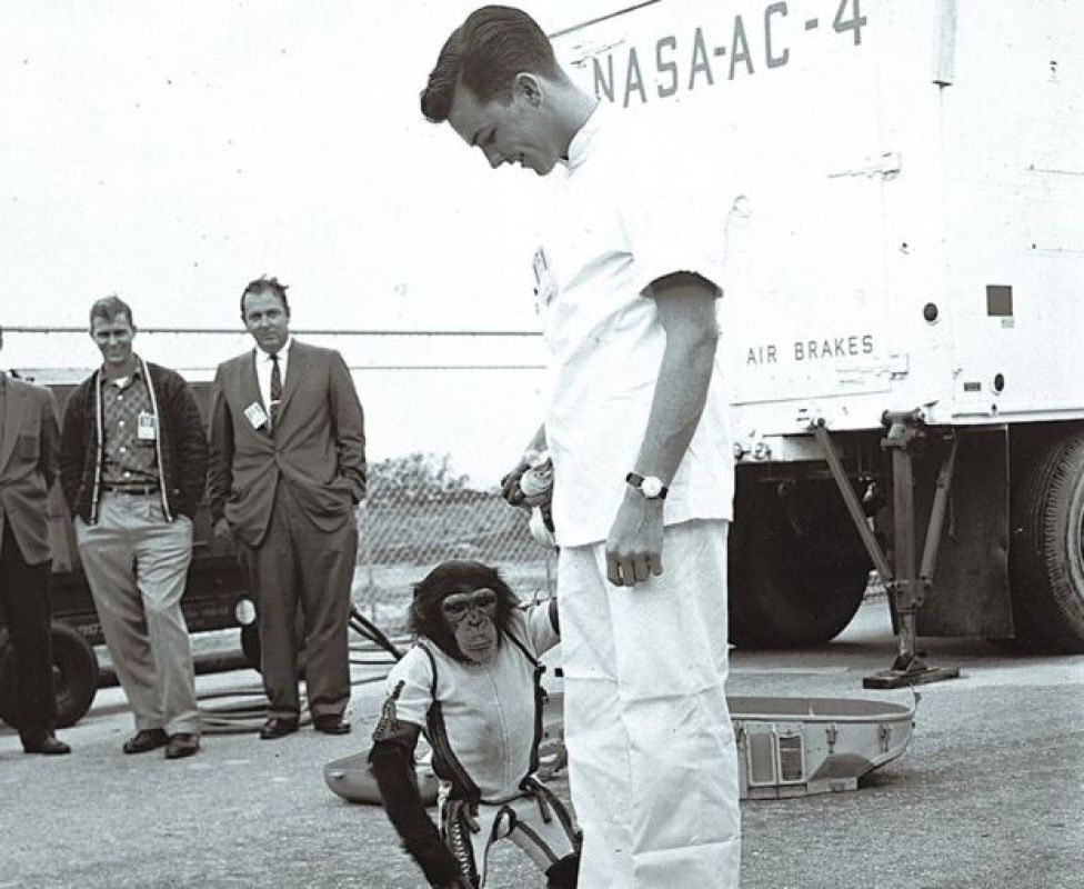 US astronaut Alan Shepard with chimpanzee Ham who preceded him in space