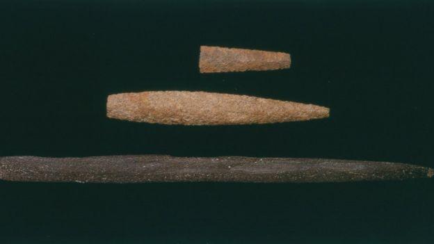 Puntas de proyectiles halladas en el sitio de Monte Verde II.