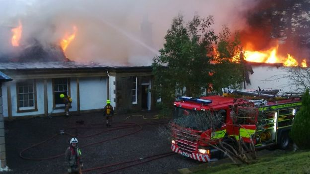 Firefighters at scene of Boleskine House fire