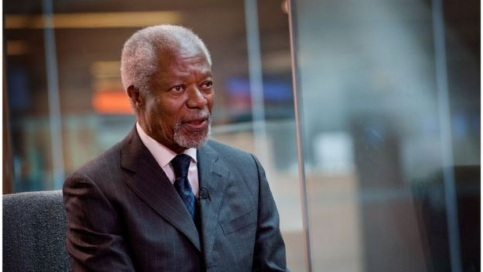 Kofi Annan during an interview at the BBC's World Service in 2014