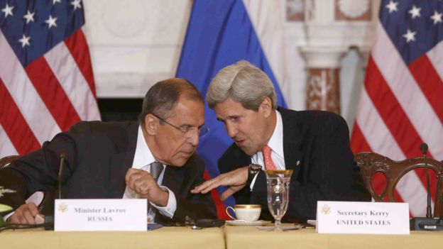 Secretary of State John Kerry talks with Russian Foreign Minister Sergei Lavrov at the State Department in Washington, Friday, Aug. 9, 2013