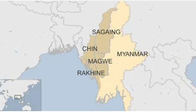 Map of Myanmar flood-affected areas, August 2015