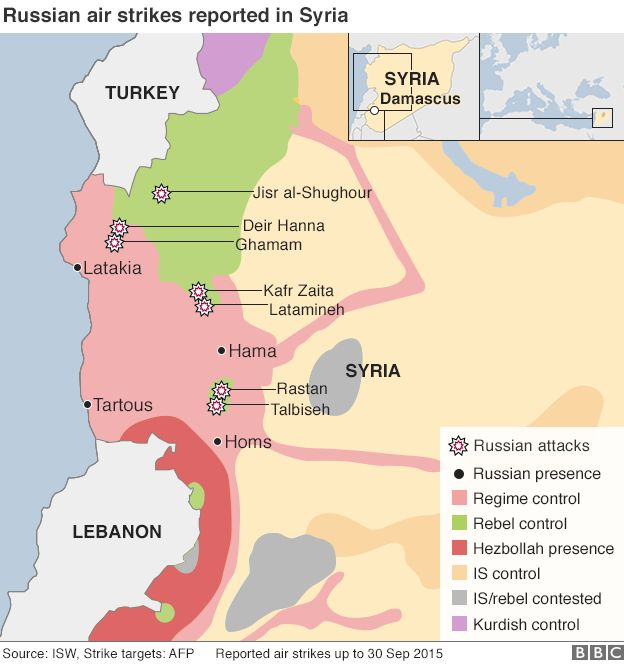 Map showing air strikes