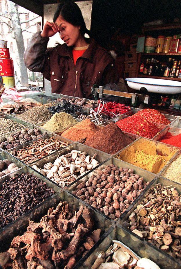 Mercado de especias en Pekín, China