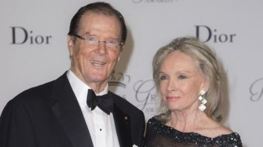 Sir Roger Moore with wife Kristina Tholstrup