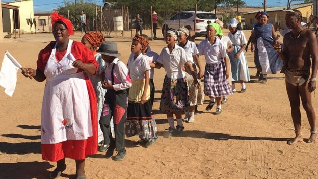 Members of the Nama community perform a traditional dance in Springbok, Northern Cape