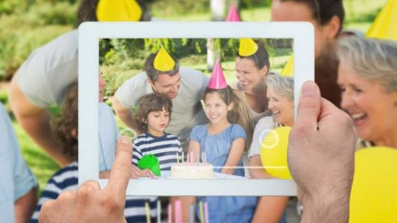 A family scene on a tablet computer