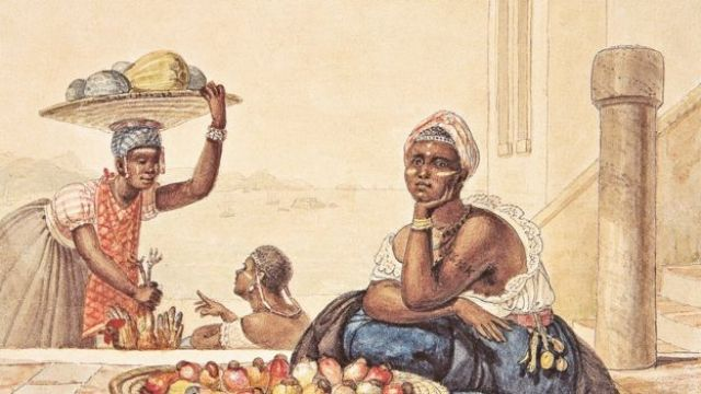 Negra tatuada vendendo cajus, aquarela sobre papel de Jean-Baptiste Debret, 1827. 15,7 x 21,6 cm. Museus Castro Maya/ Ibram/MinC