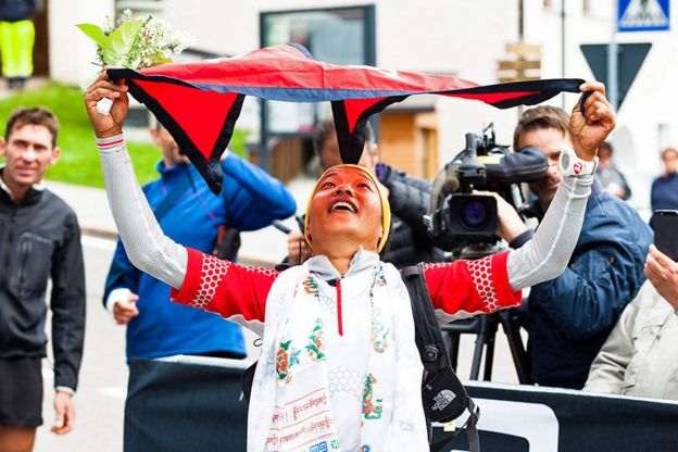 Mira finishing the 57km Sellaronda Trail Running race in the Italian Dolomites in September 2014.