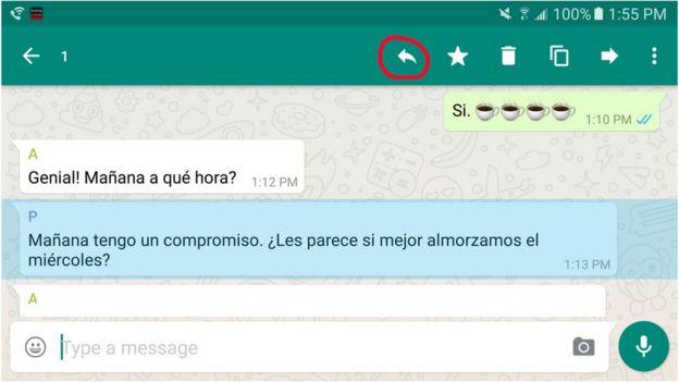 Pantalla, conversación Whatsapp
