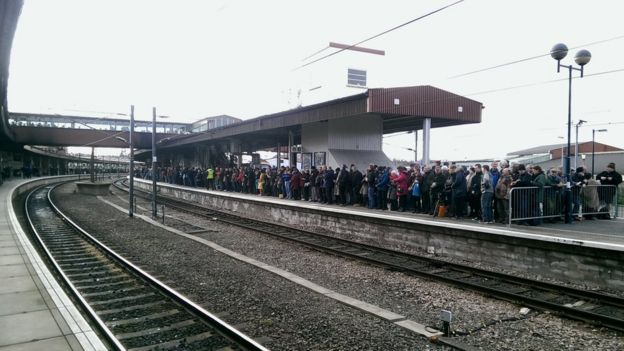 Crowds gather at York station