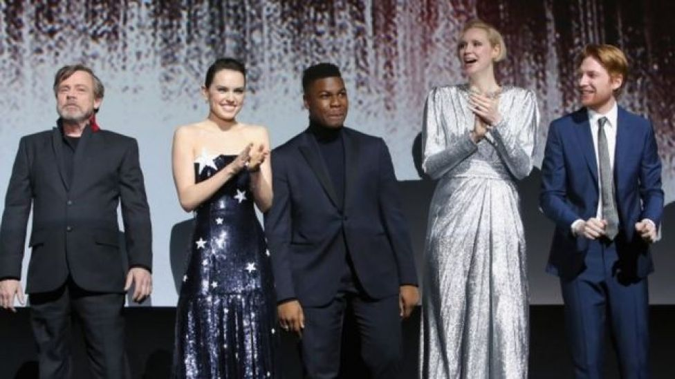 Los actores Mark Hamill, Daisy Ridley, John Boyega, Gwendoline Christie y Domhnall Gleeson.