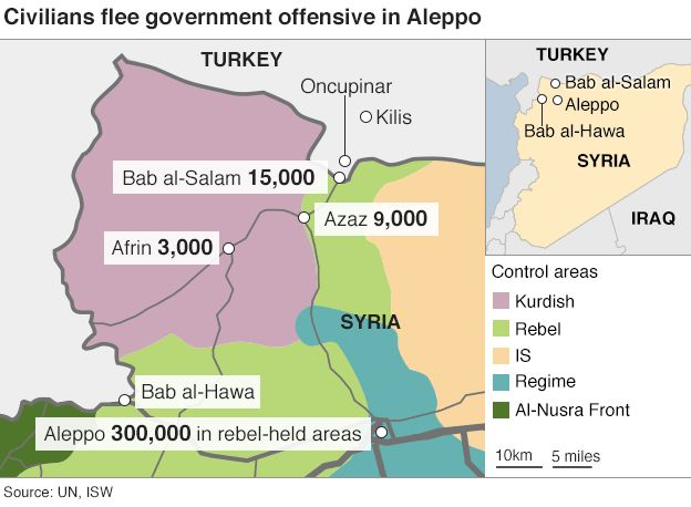Map showing where civilians have fled since Syrian government forces began their offensive on Aleppo - 10 February 2016