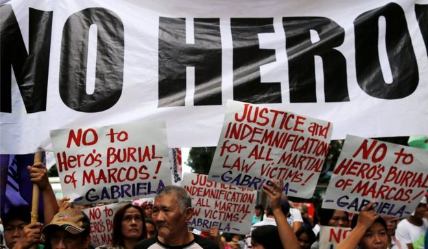 A protest in in Manila on 11 November 2016, against the decision allowing the burial in the Heroes' Cemetery.
