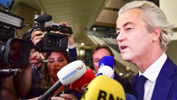 PVV leader Geert Wilders speaks to the press on election night in The Hague, on March 15, 2017