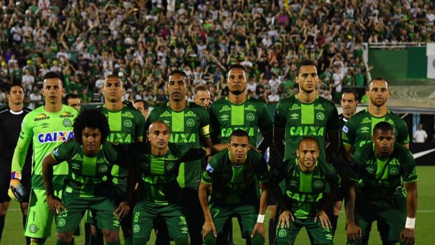 Chapecoense team at semi-final against Argentina's San Lorenzo - 24 November