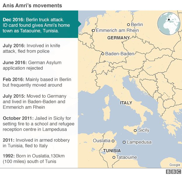 Map showing Anis Amri's movements