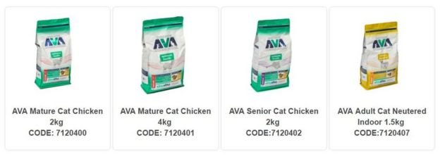 bags of cat food being recalled