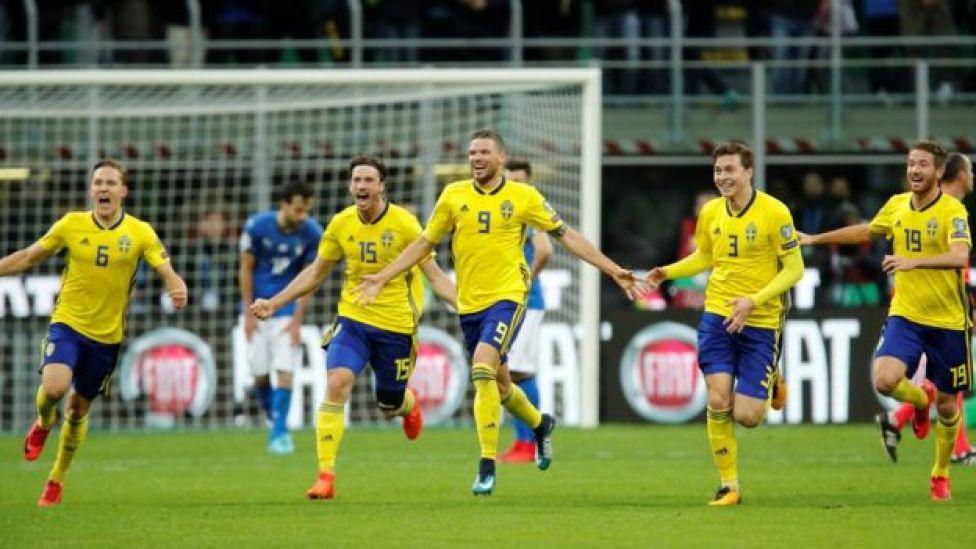 Los suecos celebran su pase al Mundial