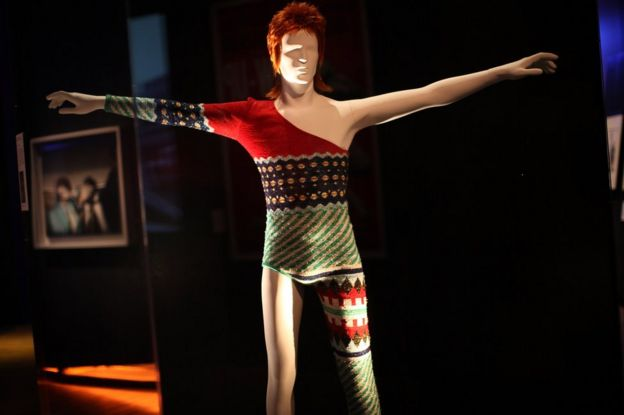A costume designed by Japanese designer Kansai Yamamoto for David Bowie's Ziggy Stardust character is display at the Victoria and Albert museums' new major exhibition, 'British Design 1948-2012: Innovation In The Modern Age' on 28 March 2012 in London, England.