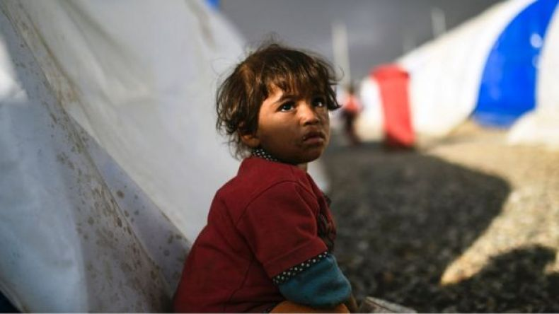 Una niña iraquí desplazada en un campo de refugiados, 22 octubre, 2016.