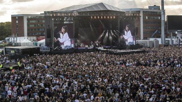 Ariana Grande performs during the One Love Manchester benefit concert
