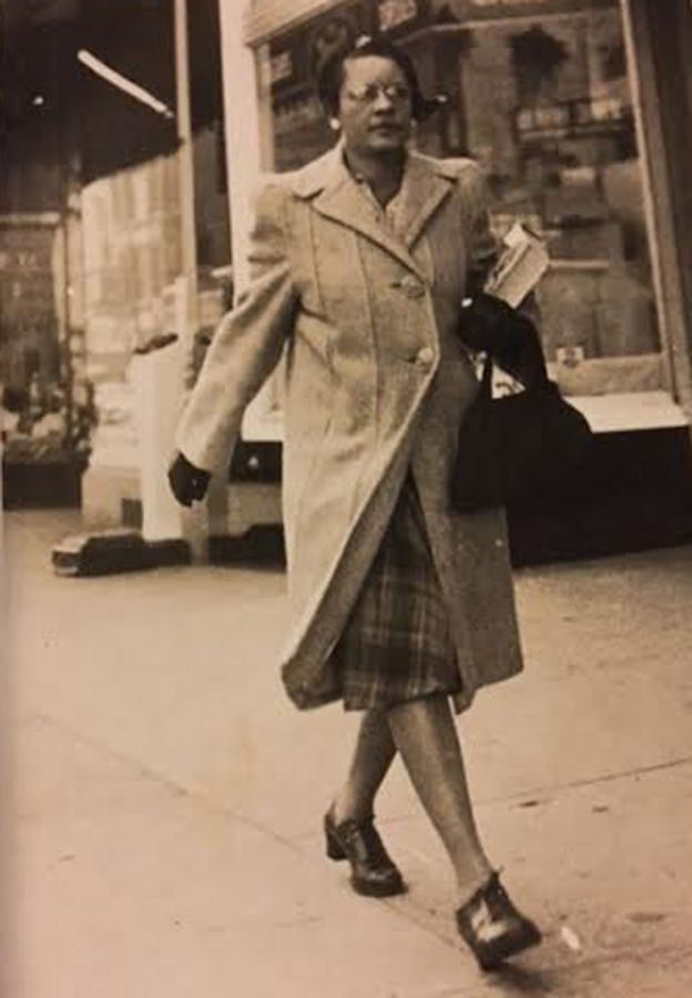 Miriam Mann walking down the street