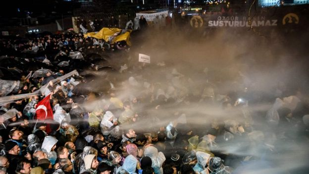 Police fired tear gas at protesters outside Zaman's offices on Friday night (4 March)