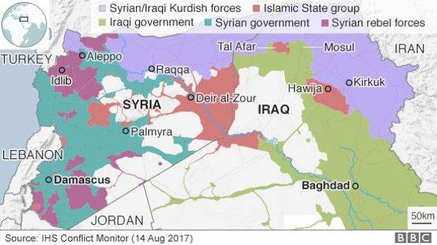 Map showing control of Iraq and Syria (14 August 2017)