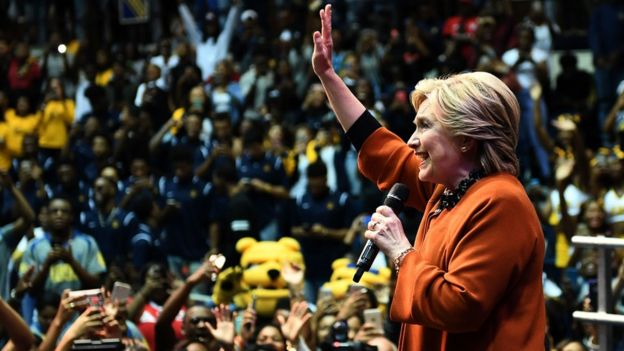US Democratic presidential nominee Hillary Clinton speaks during a homecoming rehearsal at the North Carolina A^T university in Greensboro, North Carolina, on October 27, 2016
