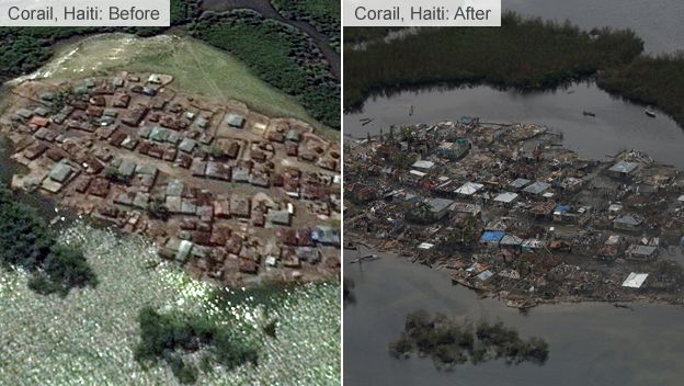 Damage caused by Hurricane Matthew in Corail, Haiti