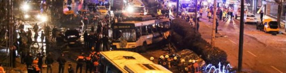 Scene of explosion in Ankara's central Kizilay district on 13 March 2016