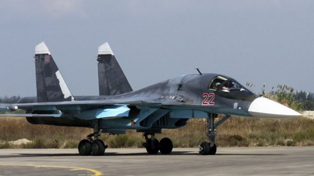 Russian Su-34 bomber at Hmeimim airbase in Syria, 6 Oct 15