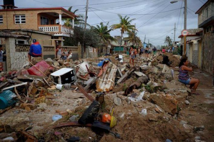 View of damage after the passage of Hurricane Irma, in Cojimar neighbourhood in Havana, 10 September