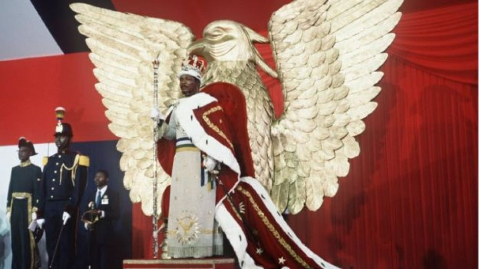 Self-proclaimed emperor of Centrafrican empire, Jean-Bedel Bokassa stands 04 December 1977 on his throne after crowning himself in Bangui, following Napoleon's example