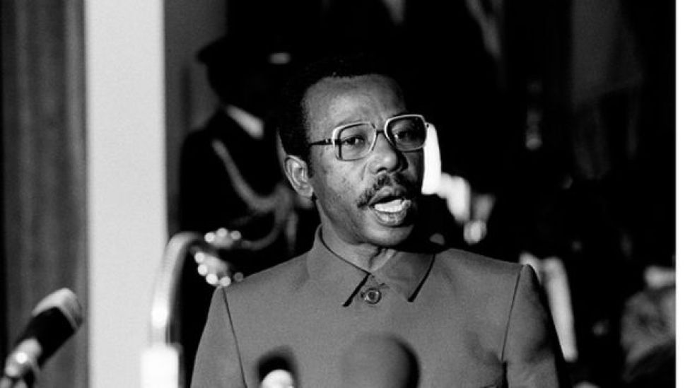 The former Ethiopian Head of State Mengistu Haile Mariam addresses the summit of the Organization of African Unity on 1 December 1987