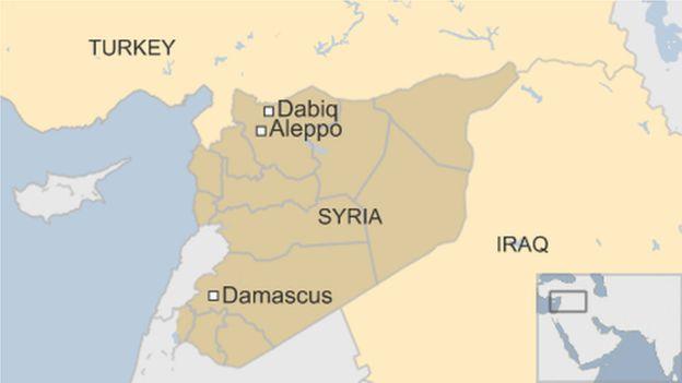 Bản đồ khu vực Dabiq, Syria.