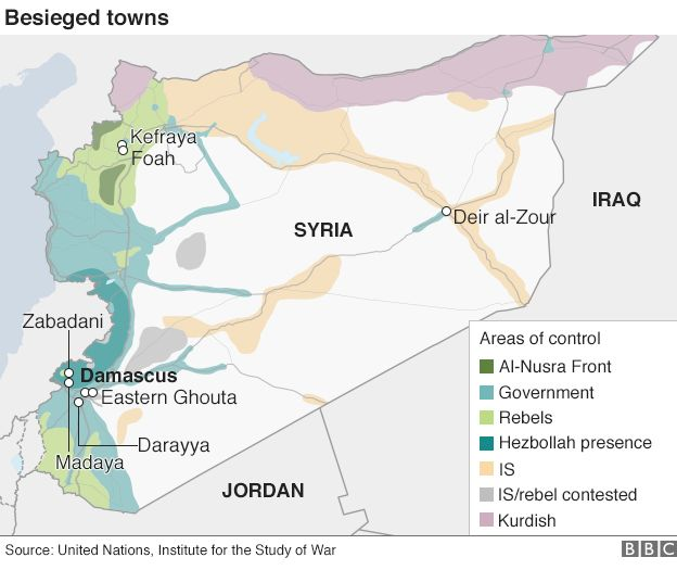 Map showing besieged parts of Syria