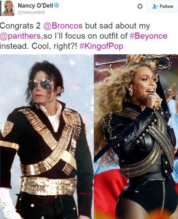 Tweet por Entertainment Tonight anclaje Nancy O'Dell que muestra similitud entre Beyonce y trajes de Michael Jackson - 7 de febrero de el año 2016