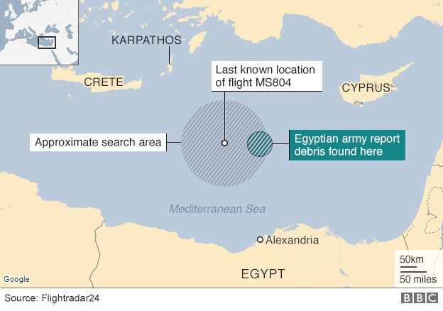 Map showing area of Mediterranean where search for MS804 debris is focused