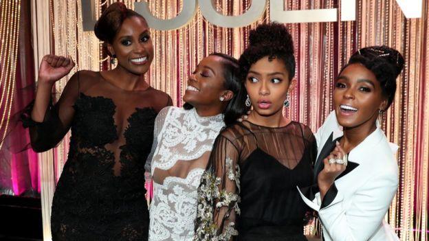 Issa Rae, Aja Naomi King, Yara Shahidi and Janelle Monae at the Black Women in Hollywood Awards